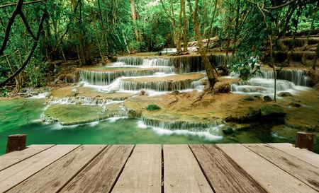 huay: Paradise Waterfall (Huay Mae Kamin Waterfall) in Kanchanaburi, Thailand.
