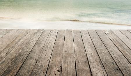 markermeer: wood terrace on the beach Stock Photo
