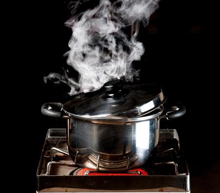 sterilization: steam over cooking pot