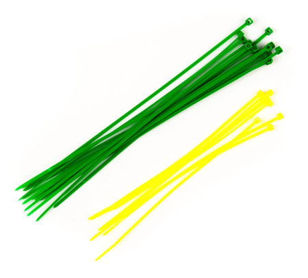 Plastic cable ties on a white Stock Photo - 28216336