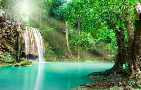 Blue stream waterfall in Kanjanaburi Thailand (Erawan waterfall Nation Park) photo