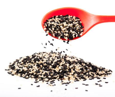 white sesame seeds: black and white sesame seeds  Stock Photo