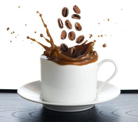 coffee splash isolated on white background photo