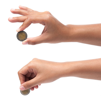 silver coins: Hands with coins