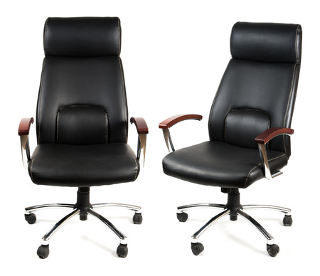 Black leather office chair isolated on whit photo