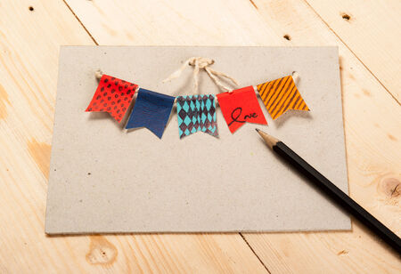 card birthday,Festive vintage garlands with bunting flags in autumn colors photo