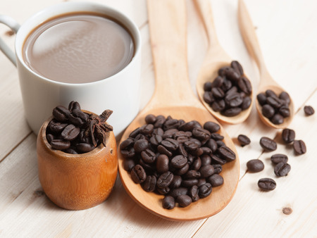 cup of coffee and Wooden Spoon on wood table, selective focus photo