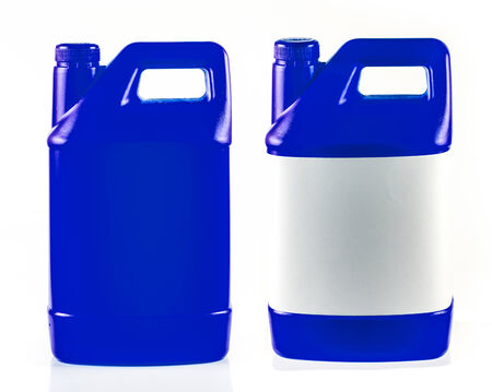 Blue plastic container isolated on a white background. photo