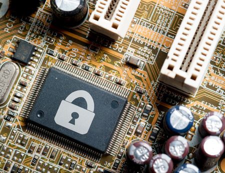 Computer chip locked , Computer Security conception. photo