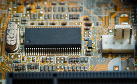 Electronic microcircuit and microchip taken closeup. photo