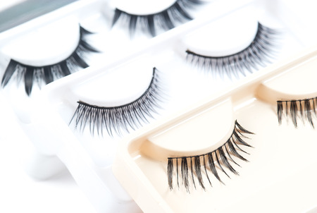 false eyelashes isolated on white background