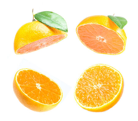 Collection perfect orange slices isolated on white  photo