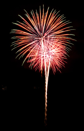 fireworks on white background: Colorful fireworks on the black sky background Stock Photo