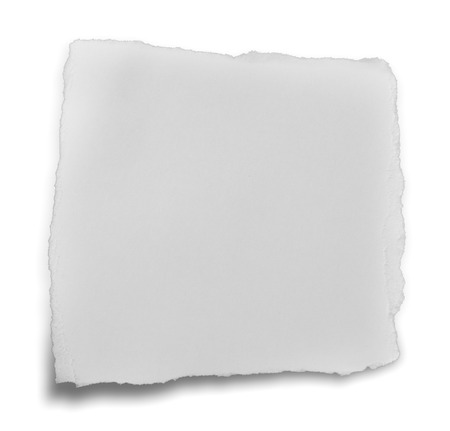 ripped white paper note on white background photo