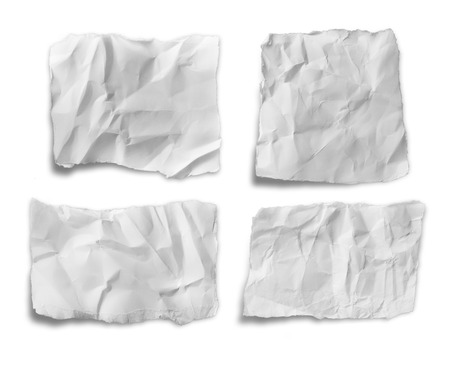 collection of various white papers on white background. photo