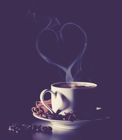 Valentine Day Coffee in love. vintage color toned image photo