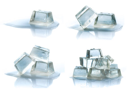 Cubes of ice on a white background. photo