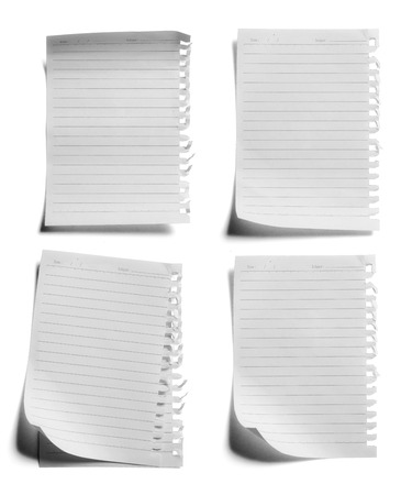 white textured paper: collection of various paper page notebook. textured isolated on the white backgrounds Stock Photo