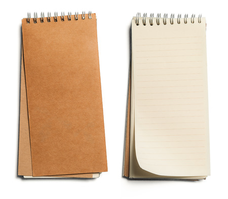 notebook: collection of various paper page notebook. textured isolated on the white backgrounds Stock Photo