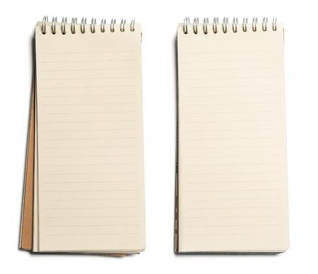 nota de papel: colección de varios página papel de cuaderno. textura aislado en los fondos blancos Foto de archivo