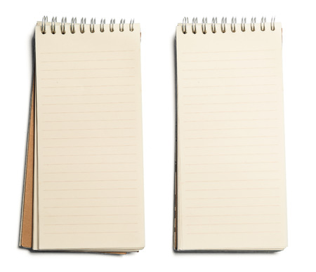 collection of various paper page notebook. textured isolated on the white backgrounds Standard-Bild