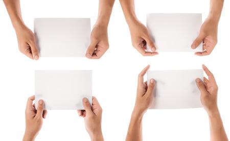 bordure de page: collection de maintien de papier à la main isolé sur fond blanc