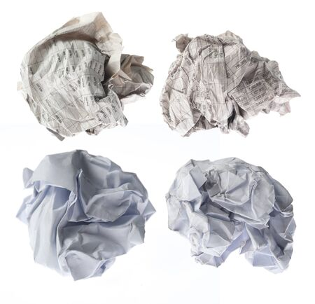 collection of paper ball on white background photo