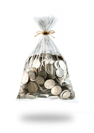 coins in plastic bags on white background photo