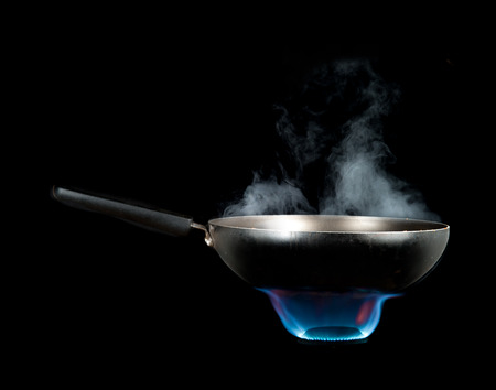 Frying Pan and smoke on Burner