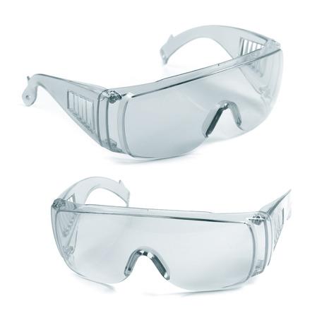 seguridad industrial: gafas de seguridad aislados en blanco