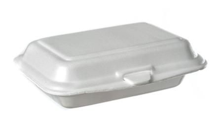 polystyrene box isolated on white photo