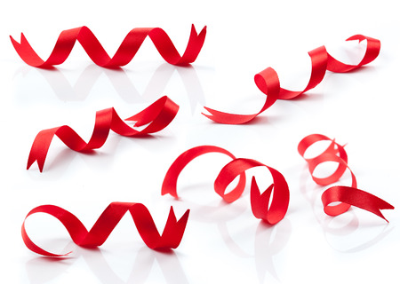 fabric red ribbons on a white background