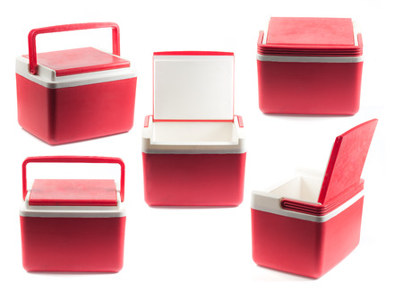 refrigerator: Handheld red refrigerator