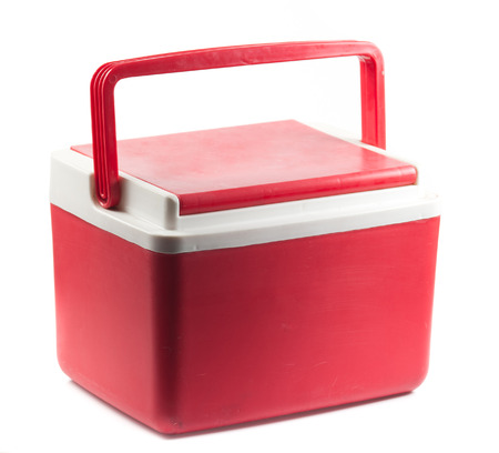 insulated drink container: Handheld red refrigerator box