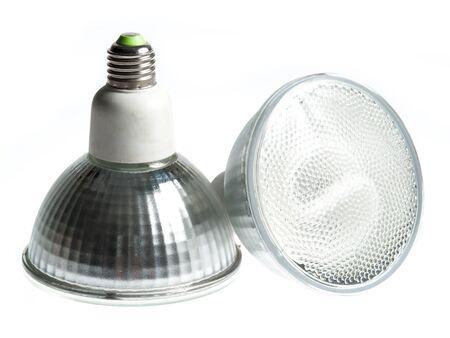 light fixture: Energy saving fluorescent light bulb on white bakground Stock Photo