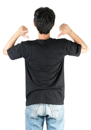 black t shirt: Black t shirt on man template on white background