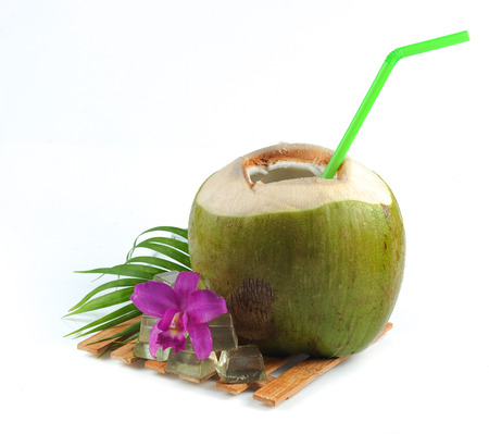 coconuts: Fresh Coconut Water Drink on white background