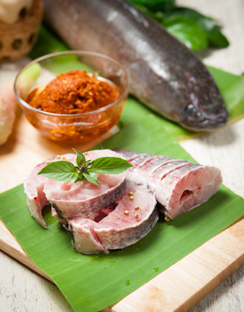 snakehead: fish meat and Giant snakehead fish with spices
