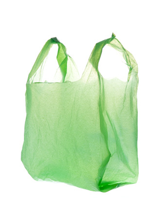 Green Plastic bag on white background