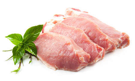 Meat, pork, slices pork loin on a white background 스톡 콘텐츠