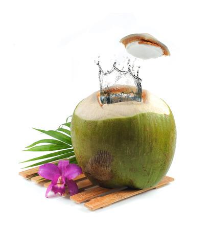 coco: Coco fresco con salpicaduras de agua sobre fondo blanco Foto de archivo