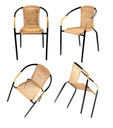 cane chair: collection of Metal and artificial rattan chair on White Background Stock Photo