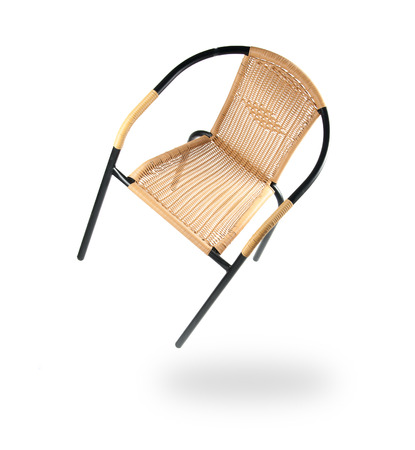 cane chair: Metal and artificial rattan chair on White Background