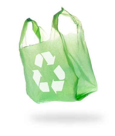 Plastic Bag and recycle symbol on White Background
