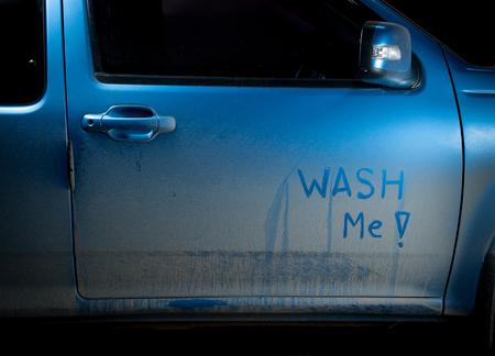 dirty car: Wash me - dirty car Stock Photo