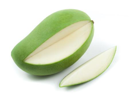 green mango: Fresh green mango on white background Stock Photo