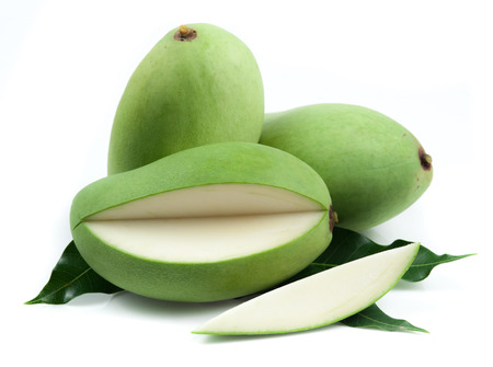Fresh green mango on white background Archivio Fotografico