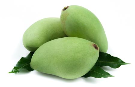 Fresh green mango on white background Zdjęcie Seryjne