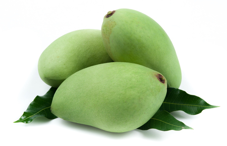 Fresh green mango on white background Standard-Bild