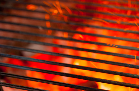 barbecue fire: barbecue grill and hot coal Stock Photo